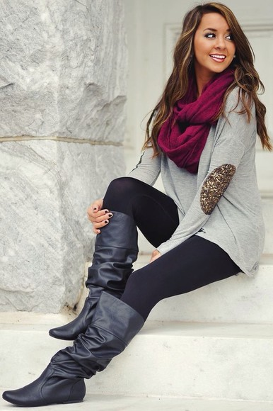 elbow patches cute scarf jumper sequins grey boots shoes brown dress brown leather boots grey sweatshirt leggings burgundy