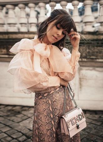 blouse pink blouse top pink top ruffled top skirt pink skirt bag pink bag snake skin all pink wishlist