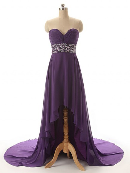 purple dress long dress chiffon dress sweetheart dress prom dress long homecoming dress hi-low dress