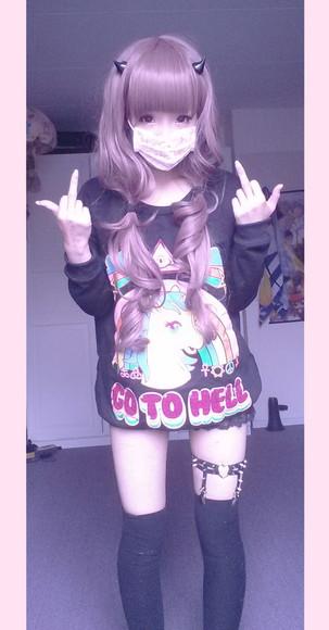 unicorn go to hell kawaii sweater japan japanese asain