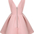 Pink V Neck Sleeveless Backless Flare Dress - Sheinside.com