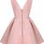 Pink V Neck Sleeveless Backless Flare Dress - Sheinside.com