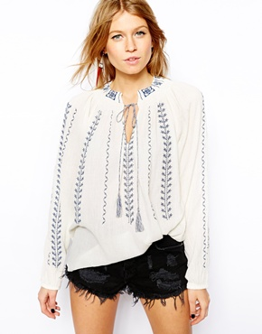 Mango | Mango Embroidered Smock Top at ASOS