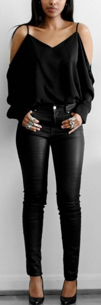 blouse black off the shoulder top all black everything leather pants black blouse pants