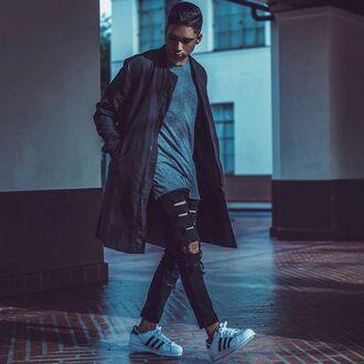 jacket longline maniere de voir bomber jacket charcoal khaki kanye west coat 36683 menswear urban menswear mens ripped jeans