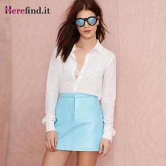 skirt blue skirt high waist skirt pu skirt short skirt slim skirt sexy skirt floral skirt floral print skirt blue floral print skirt