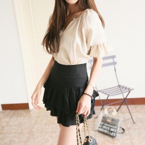 Frill sleeve linen blouse