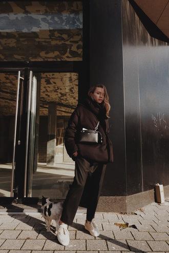 vasilieva blogger jacket pants shoes bag crossbody bag black bag sneakers black pants brown jacket