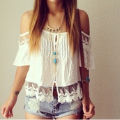 blouse,white blouse,embroidered,white,tanktop.,tank top,white tank top,shorts,denim shorts,denim,used jeans,jewels,jewelry bracelets,necklace,bracelets,gold bracelet,turquoise,turquoise jewelry,turquoise bracelets,turquoise necklace,hippie,hippie jewelry,boho,jewelry,layered,boho jewelry,summer outfits,festival,shirt,whitr,top