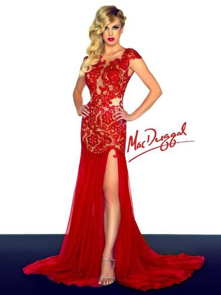 evening dress party dress red dress
