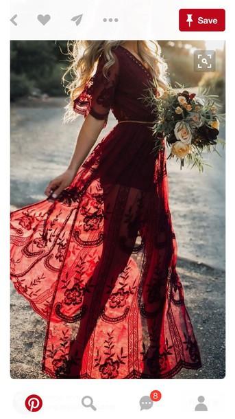 dress gown dress beautiful red dress boho lace dress red lace long dress