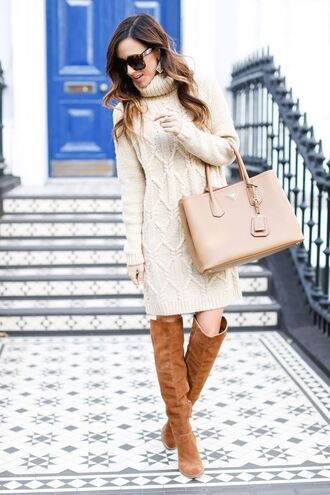 sweater sunglasses white sweater dress beige bag brown over knee boots blogger