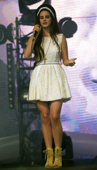 dress white headband lana del rey lana del rey collection white dress cross necklace cute outfits shoes