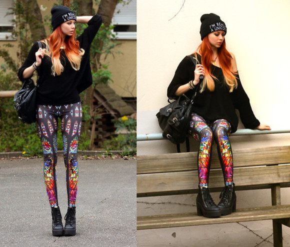 leggings shoes sweater black colorful bag print beanie