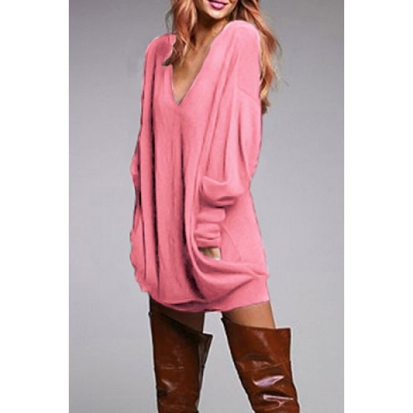 Stylish Plunging Neck Long Sleeve Solid Color Pocket Design Dress ...