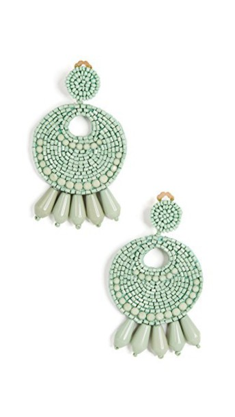 Kenneth Jay Lane gypsy earrings hoop earrings green mint jewels