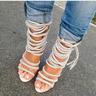 shoes rope strappy heels strappy sandals