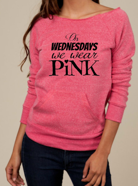 Shirt: pink, sweater, hoodie, pullover, love sleeve, mean girls ...