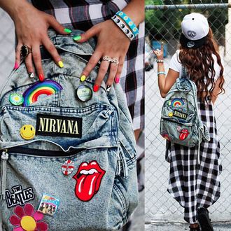 bag ounk backpack denim skirt denim backpack patch nirvana the rolling stones