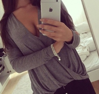 blouse top grey top long sleeves