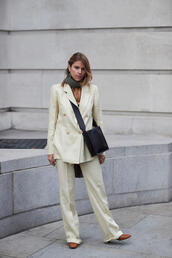 pants,tumblr,white pants,wide-leg pants,blazer,white blazer,bag,black bag,matching set,power suit