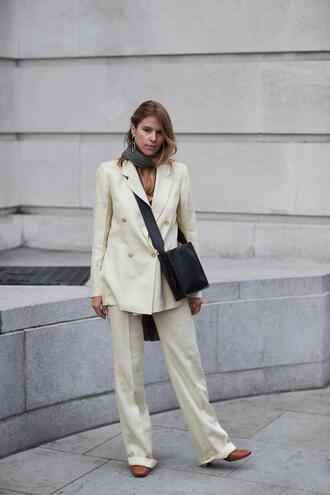 pants tumblr white pants wide-leg pants blazer white blazer bag black bag matching set power suit