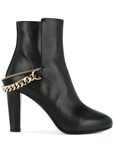 lanvin women ankle boots leather black shoes