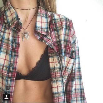 underwear brandy lace bralette black cute plaid shirt flannel