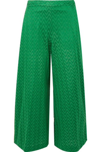 Missoni pants wide-leg pants knit green crochet