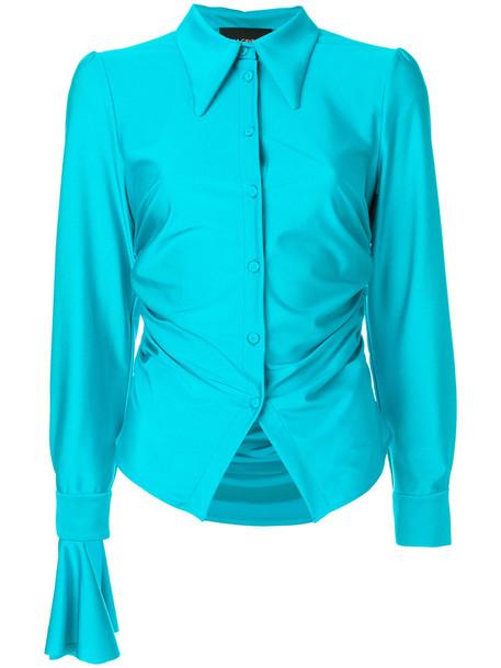 Erika Cavallini - gathered shirt with exaggerated cuff - women - Polyamide/Spandex/Elastane - M, Blue, Polyamide/Spandex/Elastane