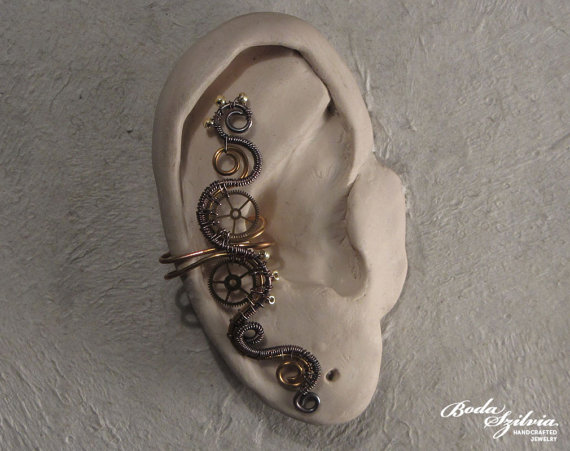 STEAMPUNK  brass and copper ear cuff by bodaszilvia on Etsy