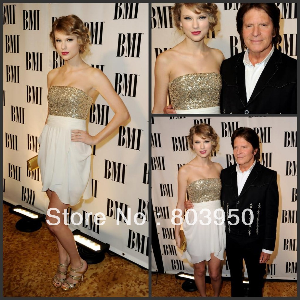 Taylor Swift Gold And Ivory Strapless Sequined Bodice A Line Short Celebrity Dress-in Celebrity-Inspired Dresses from Apparel & Accessories on Aliexpress.com