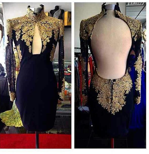 Golden Embroidery Black Dress Wheretoget