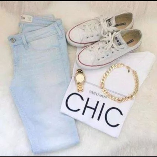 white t-shirt converse skinny jeans light blue lovely hipster cool girl style girly blue jeans accessories jeans leggings shirt jewels shoes light blue jeans