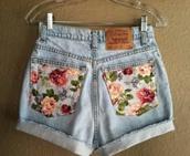 shorts,flower pocket jeans