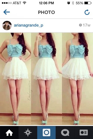 fashion white dress skirt denim blue dress ariana grande bows dress cute dress girly denim shirt chiffon pretty little liars lace dress white blue shirt brunettes wet seal charrolette russ forever 21