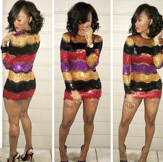 dress sequins stripes