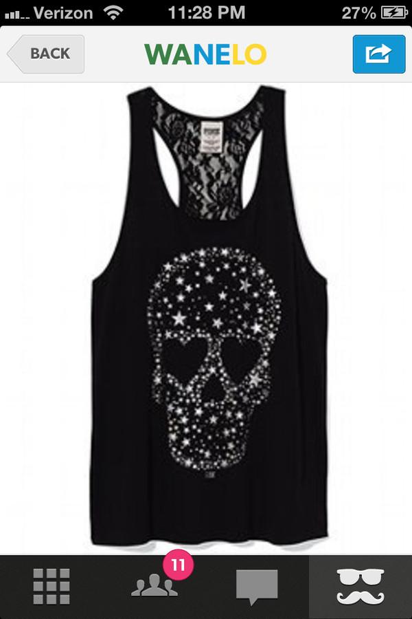 tank top skull heart stars black lace