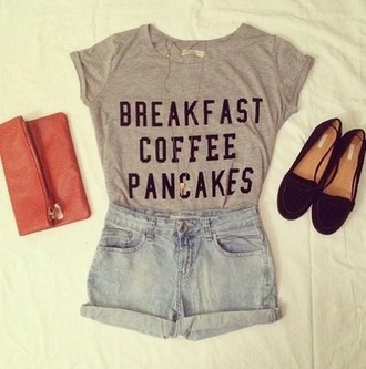t-shirt breakdance coffee pancakes grey shirt clutch shoes shorts jeansshorts loafers