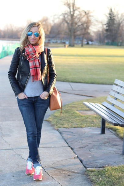 lilly's style blogger jacket sweater jeans shoes scarf sunglasses bag