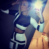 skirt,black and white,draya michele,two-piece,crop tops,skirt and shirt,shirt,blouse,dress,little black dress,clothes,clubwear,white,black,new year's eve,fashion,make-up,t-shirt,black and white dress,crop top and skirt set,club dress,clubbing oufits,bandage dress,cop top,long sleeve crop top,midi skirt,bodycon skirt