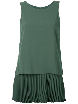 top pleated green