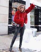 jacket,tumblr,fur jacket,faux fur jacket,red jacket,sunglasses,pants,black pants,black leather pants,leather pants,boots,black boots,ankle boots,bag,black bag,gucci,gucci bag,chain bag