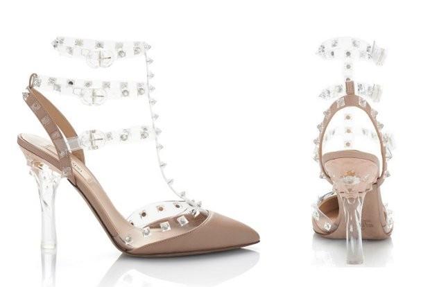 Valentino rockstud transparent slingbacks inspired heels