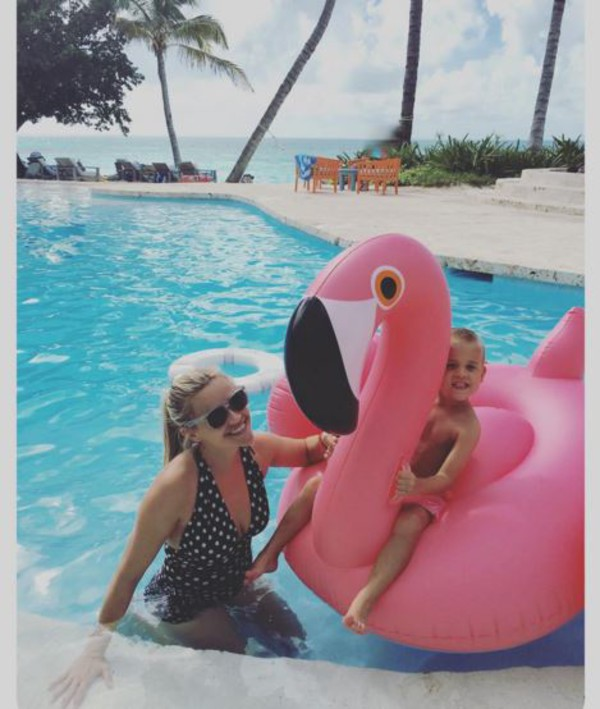 swimwear one piece swimsuit polka dots reese witherspoon instagram