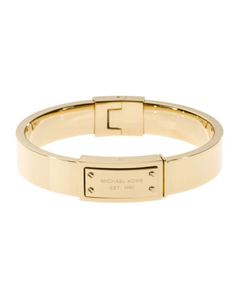 Michael Kors Logo-Plaque Hinge Bangle, Golden - Michael Kors