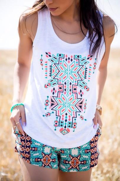 top summer aztec mint beach shirt cotton aztec top