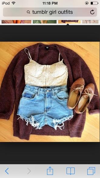 shorts shirt cardigan shoes brown dark brown oxfords denim blue jeans white lace bustier