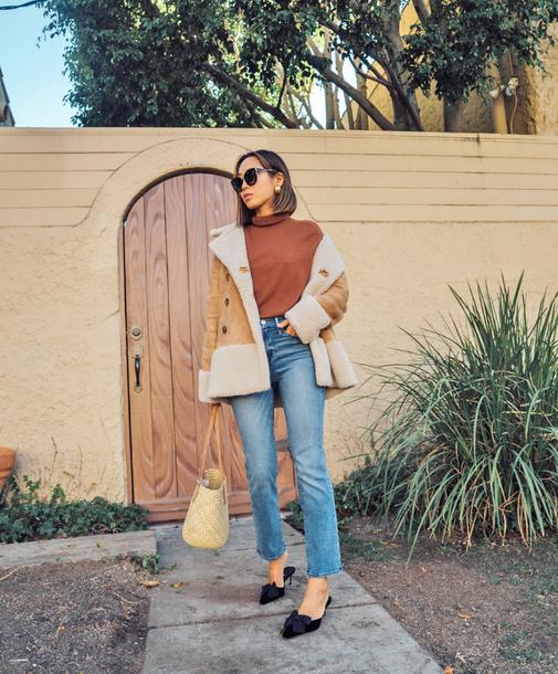 jacket tumblr shearling jacket shearling top rust turtleneck denim jeans blue jeans shoes black shoes mules bag sunglasses