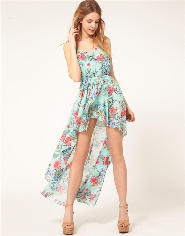 Cute floral irregualr dress